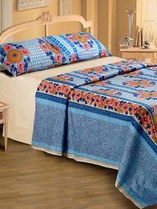 Floral Print Double Bedsheet In Blue - Belkado