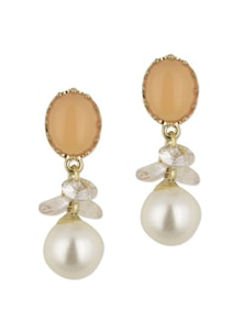 Orange & White Pearl Drop Earrings - YOUSHINE