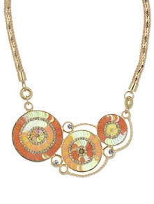 Gold & Orange Disc Pendant Necklace - YOUSHINE