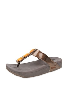 Brown & Orange Casual Slippers - JOVE