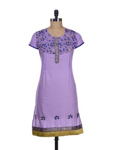 Elegant Purple Kurta With Floral Embroidery - Paislei