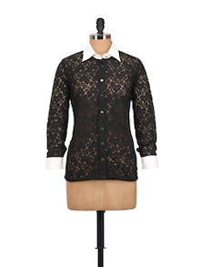 Black Lace Shirt Top - MARTINI