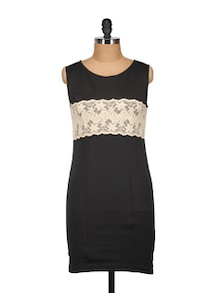 Black & Off-White Lace Bodycon Dress - MARTINI