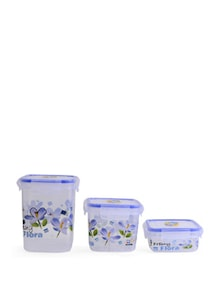Lock&Seal Square Jar (Blue)- Set Of 3 - SKI Homeware