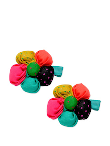 Multi-coloured Multi-coloured Floral Hair Clips - K22