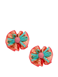 Red Printed Bow Hair Clips - K22