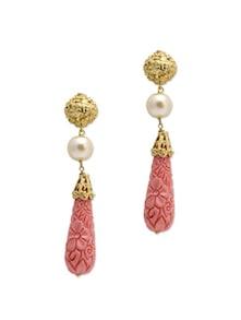 Textured Pink Stone Drop Earrings - Aradhyaa Jewel Arts