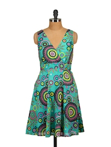 Printed Sleeveless Dress-Aqua - Tops And Tunics