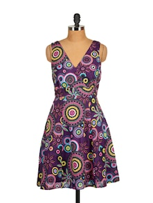 Printed Sleeveless Dress-Purple - Tops And Tunics