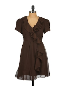 Cocoa Brown Ruffled Dress - Tops And Tunics