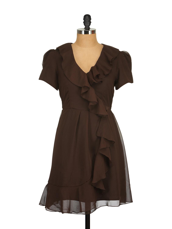 Cocoa Brown Ruffled Dress - Tops And Tunics