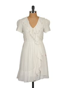 White Ruffled Dress - Tops And Tunics