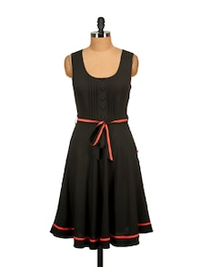 Black Pleated Dress - Tops And Tunics