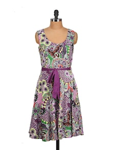 Multicolor Purple Floral Dress - Tops And Tunics