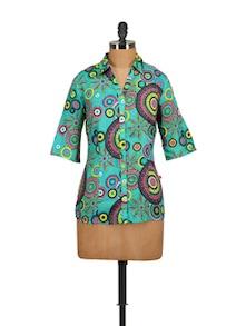 Aqua Printed Shirt - Tops And Tunics