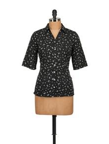 Ditzy Print Black Shirt - Tops And Tunics
