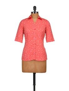 Ditzy Print Orange Shirt - Tops And Tunics