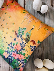 Ethnic Peacock Print Digital Cushion Cover- Set Of 5 - Belkado