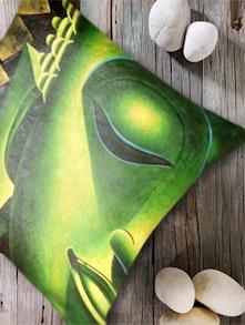 Buddha Print Green Digital Cushion Cover - Belkado