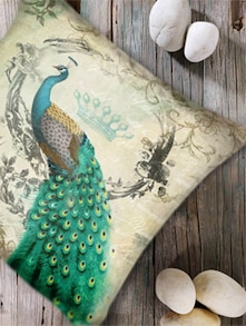 Modern Peacock Print Digital Cushion Cover-Set Of 5 - Belkado