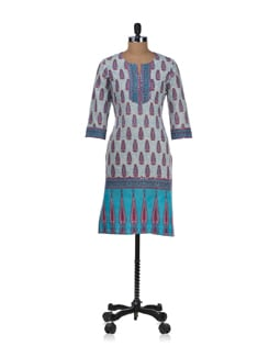 Summery Blue And White Printed Kurta - Cotton Curio