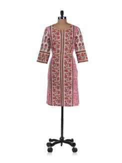 Pink And White Vertical Print Kurta - Cotton Curio