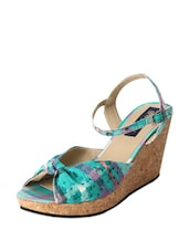 Turquoise Printed Wedges