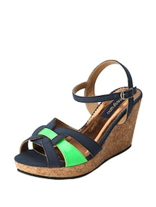 Navy & Neon Green Wedge Heels - Blue Button
