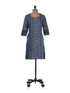 Navy Blue And White Print Kurta - Cotton Curio