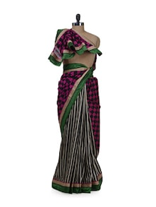 Stripes & Checks Raw Silk Saree - purple oyster