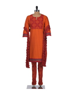Orange And Red Block Printed Suit With Mirror Work - Cotton Curio