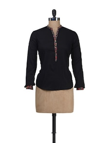 Black Shirt With Floral Piping - Besiva