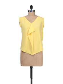Yellow Sleeveless Front Ruffle Top - Besiva