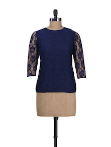 Navy Blue Lace Top - Besiva