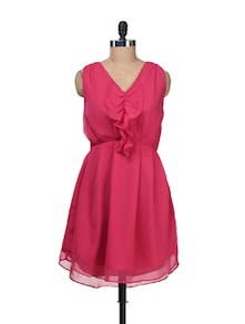 Pink Front Ruffle Dress - Besiva