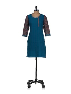 Open Front Blue Kurta With Printed Sleeves - Cotton Curio