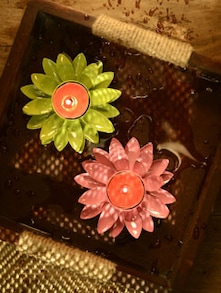 Flower Shaped T-light Votive- Set Of 2 - Color Palette