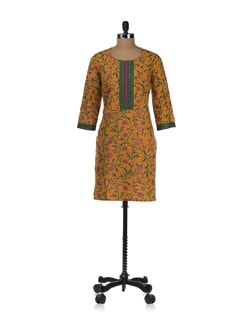 Orange And Green Floral Print Kurta - Cotton Curio