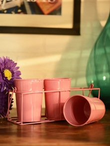 Pink Metal Planter Stand-Set Of 3 - Color Palette