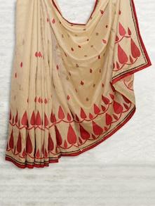 Elegant Beige & Red Matka Silk Saree - SATI