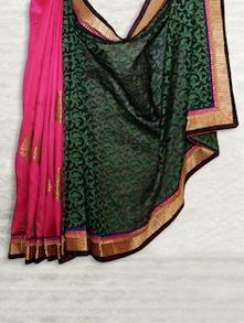 Elegant Pink & Green Matka Silk Saree - SATI