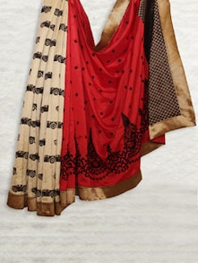 Red & Beige Printed Matka Silk Saree - SATI