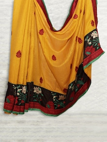 Yellow & Black Embroidered Matka Silk Saree - SATI