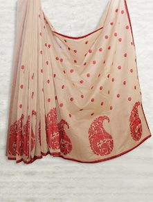 Elegant Cream & Red Embroidered Saree - SATI