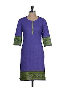 Chic Purple Printed Kurta - Cotton Curio