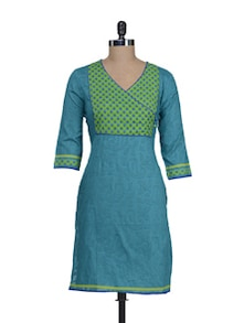 Teal Green Kurta With Wrapped Front - Cotton Curio