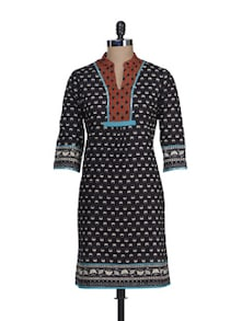 Stylish Black & Red Printed Kurta - Cotton Curio