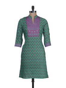 Elegant Green & Pink Printed Kurta - Cotton Curio