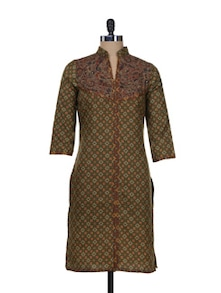 Green Digital Print Kurta With Collar - Overdrive
