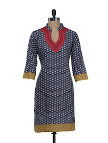Navy Printed Kurta With Embroidered Neck - Overdrive